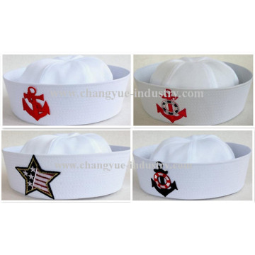 Factory making white cotton sailor seaman cap hat