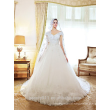 New Style Unique Capped sleeve v-line Bridal Dress Cathedral Train Wedding Gown TS145