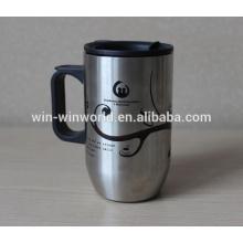 Vaso de encargo del acero inoxidable de la pared doble del café con la cubierta plástica