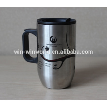 Tumbler de aço inoxidável da parede feita sob encomenda do dobro do café com tampa plástica