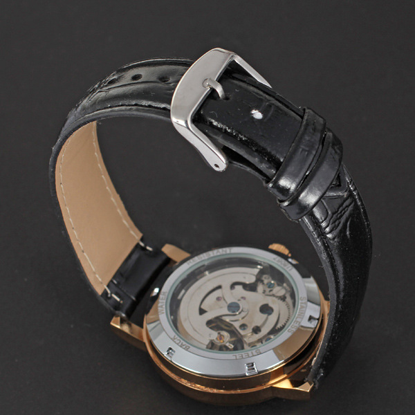 Winner golden with visible mechanism leather band mechanical watch