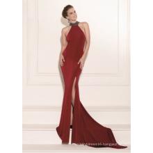 Halter Beading Side Slit Mermaid Evening Dress