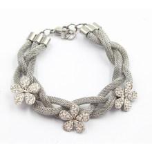Pulseira de prata de aço inoxidável com encantos de flores de zircônia