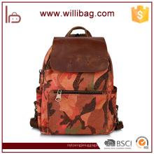 Véritable sac à dos en cuir en gros avec sac à dos tactique pour les lycéens lycéens
