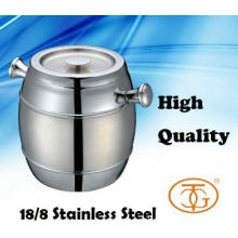 18/8 Stainless Steel Double Wall Ice Bucket With Cover / Knob Handle