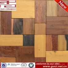 fabricación de china mezclada rústica decoración de la pared del barroom de azulejos de mosaico de madera rústica