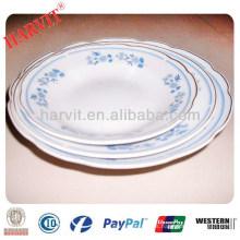 Shangdong Barato Porcelain Cut Edge 5 '' 6 '' 7 '' 8 '' 9 '' Platos de Sopa con 3 Flores y Borde de Oro Trim Silver Rim Yellow Line