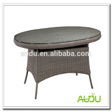 Table de salle à manger luxueuse Audu, table à manger en osier ronde ovale de 180 cm