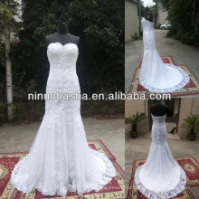 NW-477 New Design Appliqus Trompete Real Sample Wedding Dress 2014