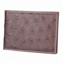 Card holder, made of ostrich leather