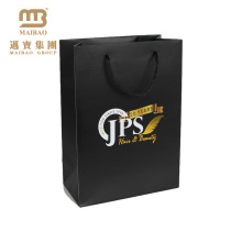 Retail Boutique Gift Carrier Packaging Custom Black Design Luxury Paper Shopping Bag With Logo