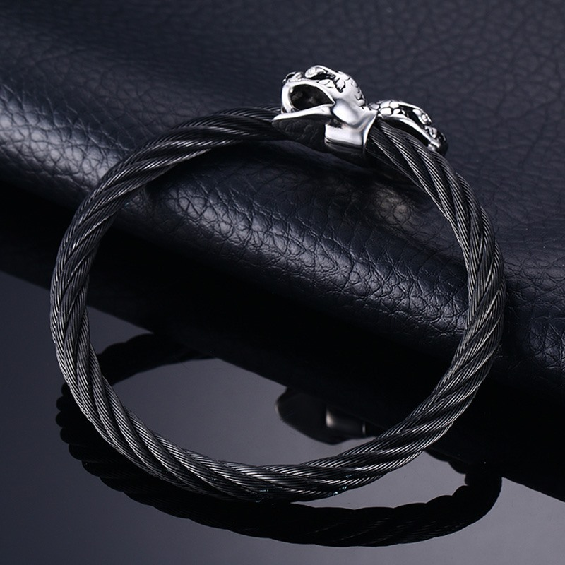 Mesh Stainless Steel Wire Snake Head Bangle Bracelet