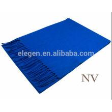 Lenço de lã de cor pura azul com franja