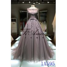 New Design A-line Wedding Dress 2016 Appliqued Vestido de Baile Khaki Long Evening Dress