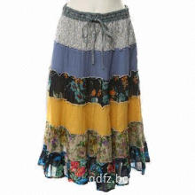 Fashionable Women's Long Skirt with Printed Cotton Fabric and Elastic Band Waist