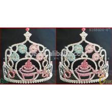 El desfile corona la tiara, la tiara de la boda y la corona, la corona barata de la tiara del rhinestone