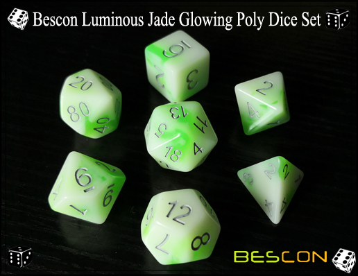 Bescon Luminous Jade Glowing Poly Dice Set-4