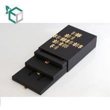 Alta calidad personalizada logotipo papel de estampado de cartón negro tarjeta de papel oficina papelería caja de almacenamiento