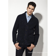 ODM Fancy Yarn Pure Colour Man Cardigan Sweater