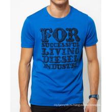 Синий с задней трафаретная печать пользовательские хлопок шею горячая Распродажа лето мужчины T рубашка