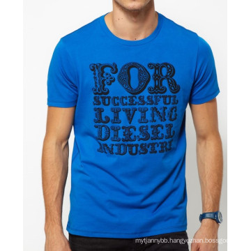 Blue with Back Screen Printing Custom Cotton Round Neck Hot Sale Summer Men T Shirt