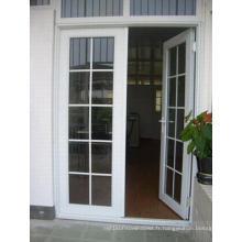 French Style Grill Design Double verre trempé Aluminium Casement Door