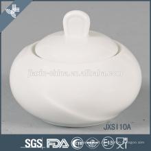 Atacado novo design durável branco rodada panela de açúcar de porcelana