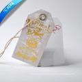 Etiqueta de papel de folha de ouro quente / etiqueta de PVC com ilhó, corda de cânhamo