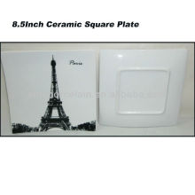 Paris 8.5inch Ceramic Square Plate For BS130601A