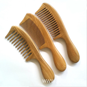 natural round handle sandalwood detangling comb