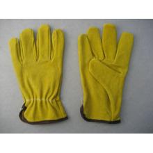 Желтый Свинья Разделенная Кожа Работы Перчатки Драйвер-9610
