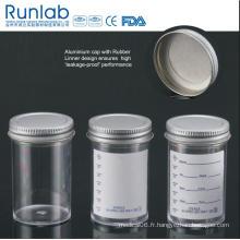 Conteneurs de 100 ml approuvés par la FDA et la CE avec bouchon de revêtement inerte à joint coulé en métal