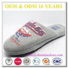 Winter printed jersey men indoor slipper