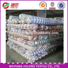 Tejido 100% teñido de algodón teñido de tela / listo a granel a cuadros tela escocesa Para Camisa 100% Hilado de Algodón Teñido Tela de Control