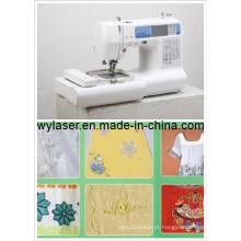 Bordados e máquina de costura para uso doméstico