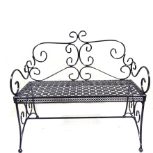 Unique Black Metal Decoration Gardem Bench Double Flowerpot Stand Craft