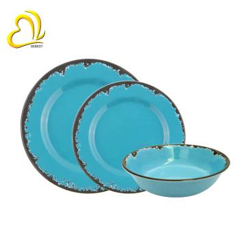 Juegos de vajilla de melamina azul de alta calidad / juego de cena de melamina / vajilla de melamina