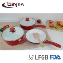 6шт красный выкованный комплект cookware