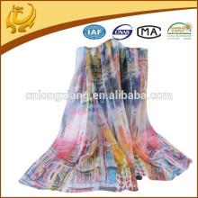 2015 Top Quality Design Mode Fashion 100% Chiffon Custom Digital imprimé foulards