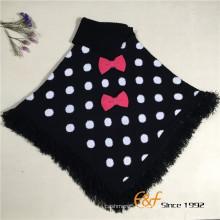 Baby Mädchen zwei Farbe Runde Dot Jacquard gestrickte Revers Pullover Schal