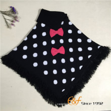 Baby Girl's Two Color Round Dot Jacquard Knitted Lapel Sweater Shawl