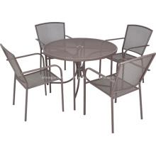 Malhas de ferro 5pc mobília ao ar livre de jantar conjunto