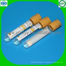 Tubo de prueba de sangre de gel y coágulo
