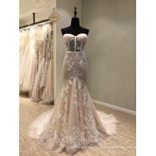 Champagne Trägerlos Spitze Abendkleid Brautkleid