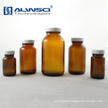 250ML amber moulded vial with white black PP cap