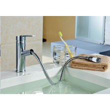 Q13003 Chrom Extensible Spout Deck-Mount Basin Faucet Mixer Tap