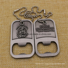 High Quanlity Zinc Alloy Bottle Opener Dog Tags with Chain