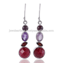 Lovely Corundum And Multi Gemstone 925 Sterling Silver Earring