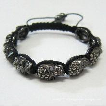 Las pulseras negras de Shamballa del cráneo venden al por mayor las pulseras hechas a mano BR69 de la bola cristalina de Shamballa