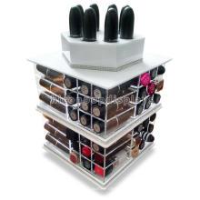 Venta al por mayor tienda de cosméticos pantalla de 4 vías de bolsillo lápiz labial giratorio titular de lápiz labial de acrílico